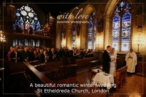 A beautiful romantic winter wedding – St Etheldreda Church, London.
