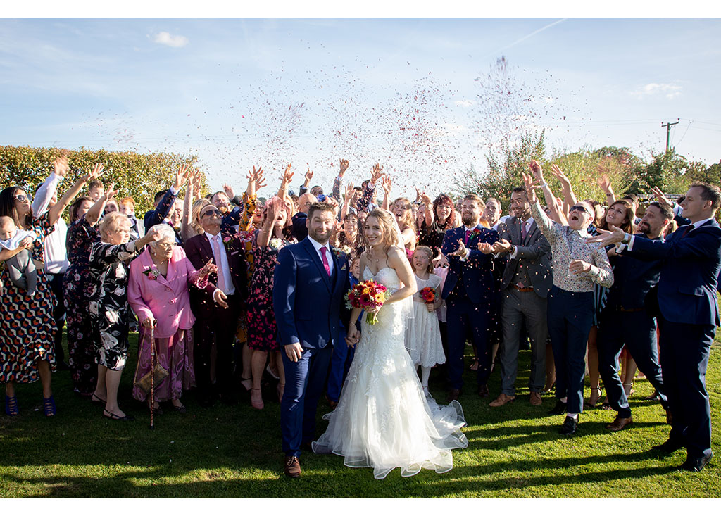wedding confetti at the compasses at pattiswick essex