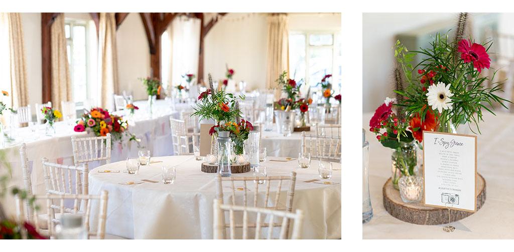 compasses at pattiswick wedding breakfast set up