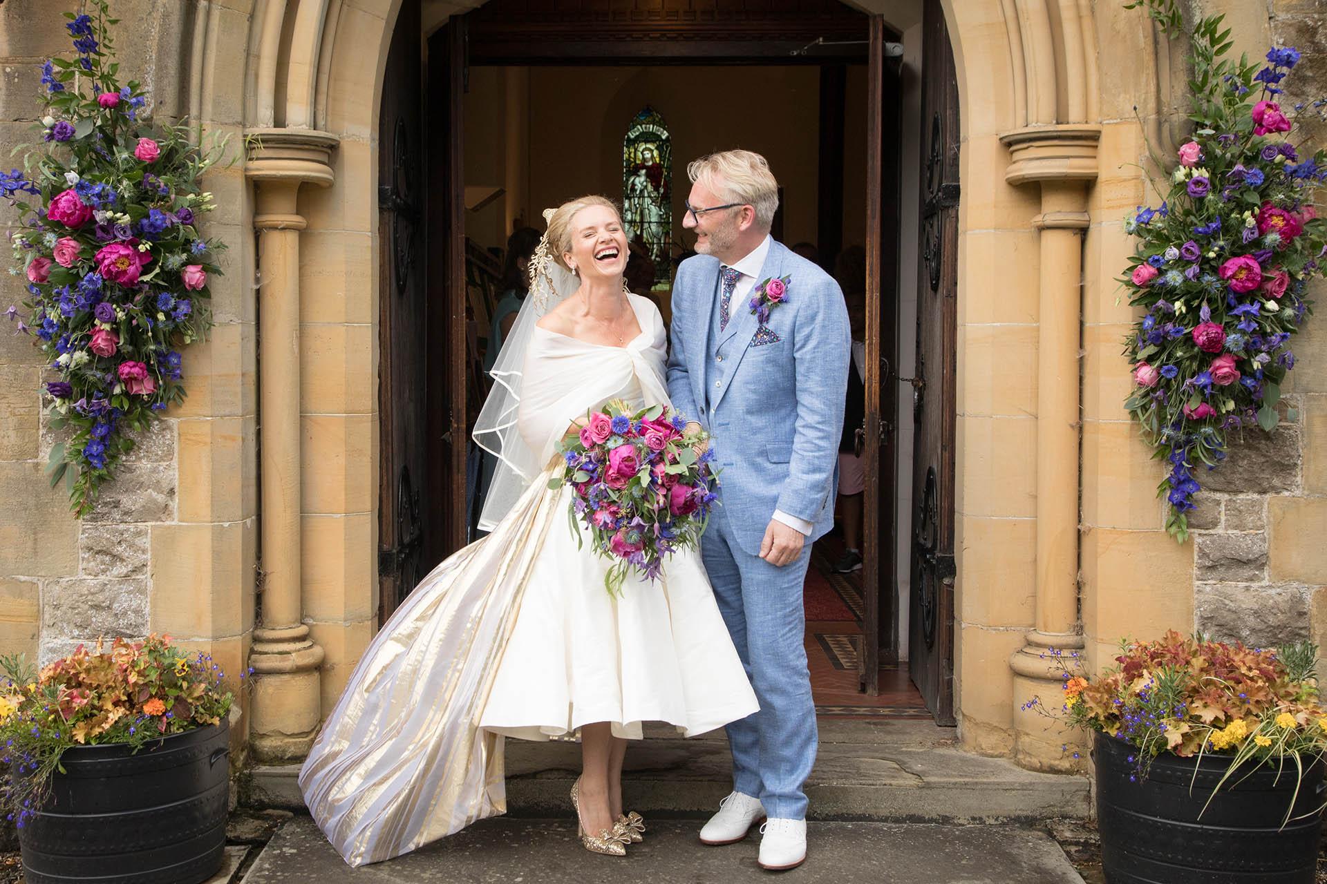 Wedding photograph outside church