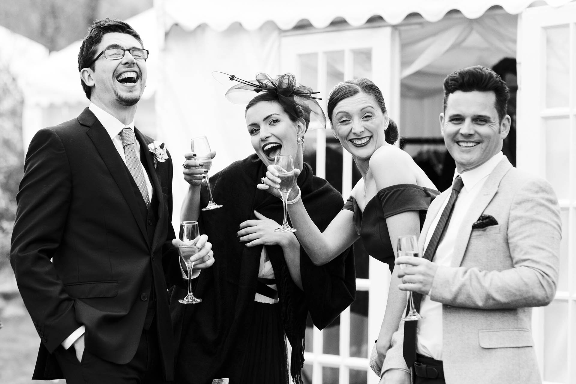 Black and white reportage wedding photograph by Eyeshine Photography