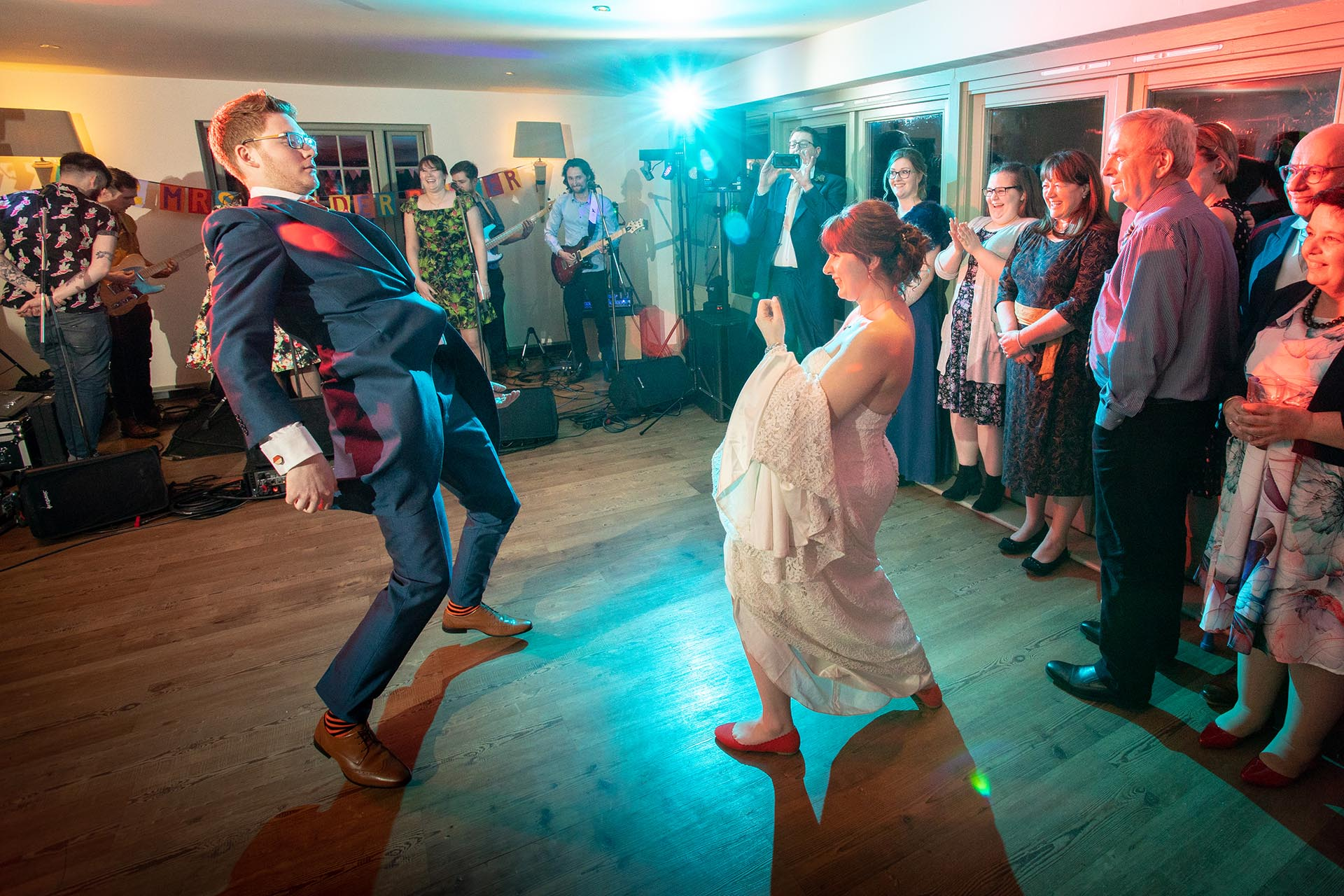 Reportage wedding photography of a first dance at The Compasses at Pattiswick photograph