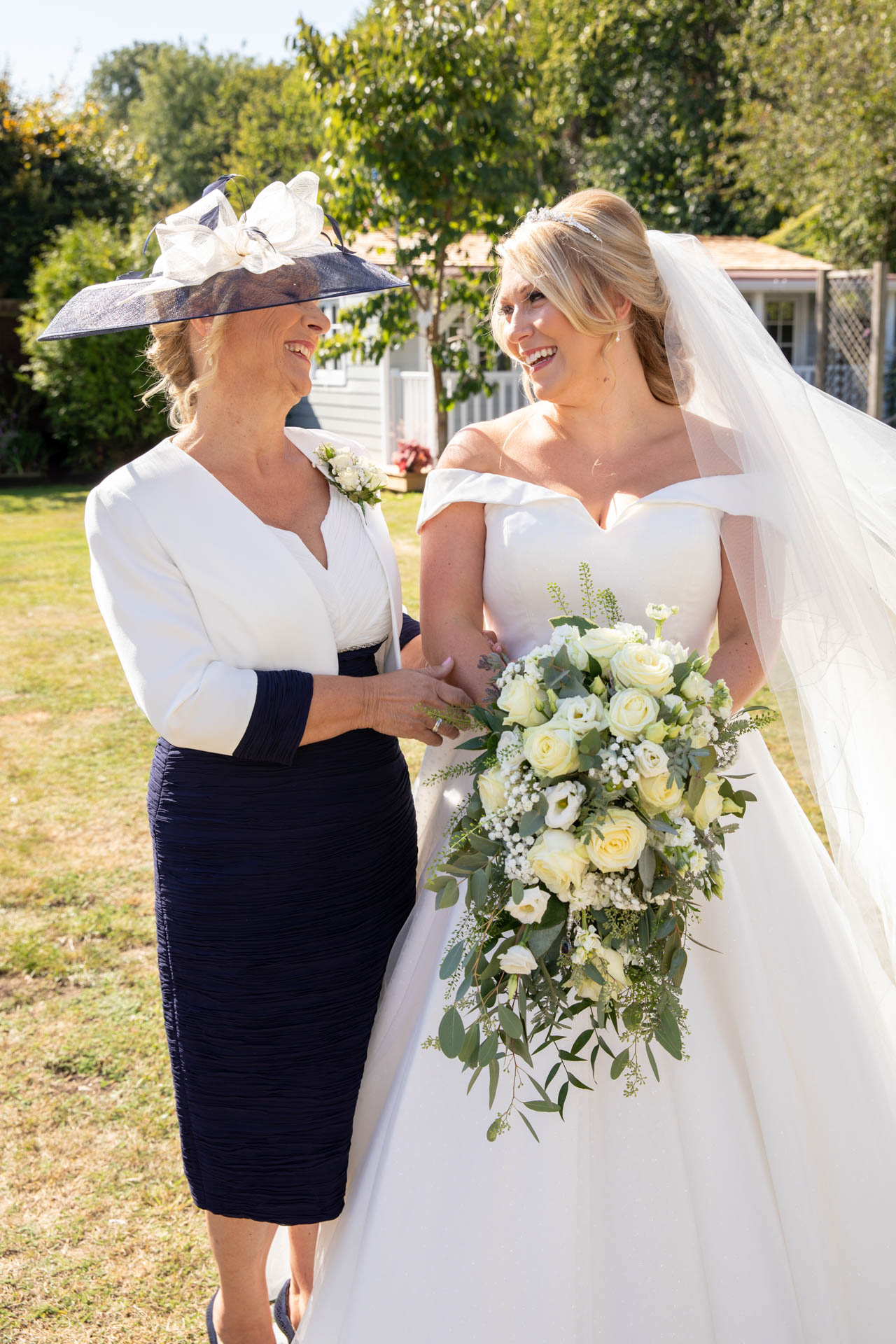 Wedding reportage photograph of bride and mother Leigh-on-Sea Essex