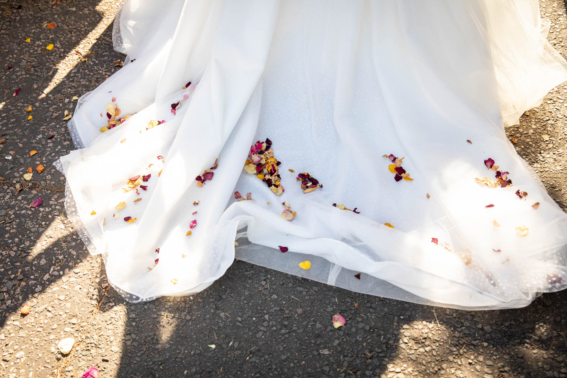Wedding reportage photograph of confetti on bridal dress at Leigh-on-Sea Essex