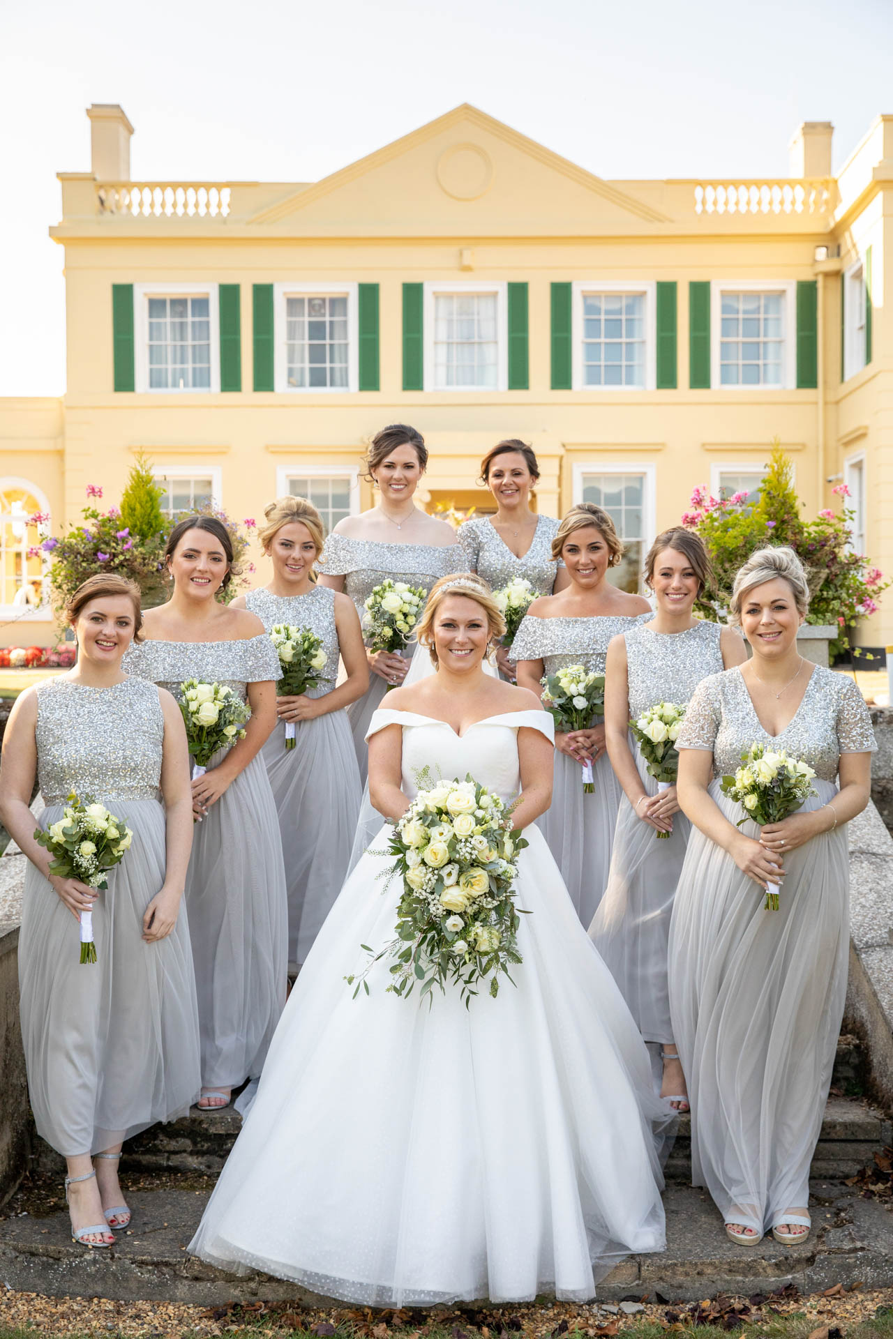 Wedding group photograph of bride and bridesmaids at The Lawn Rochford Essex