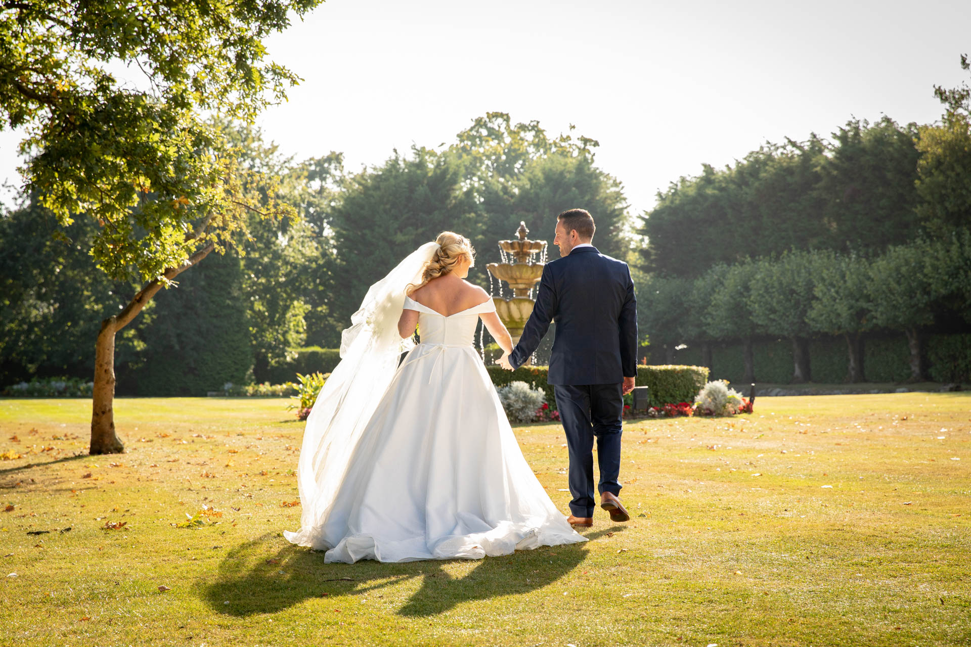 Bride and groom photography in gardens at The Lawn Rochford