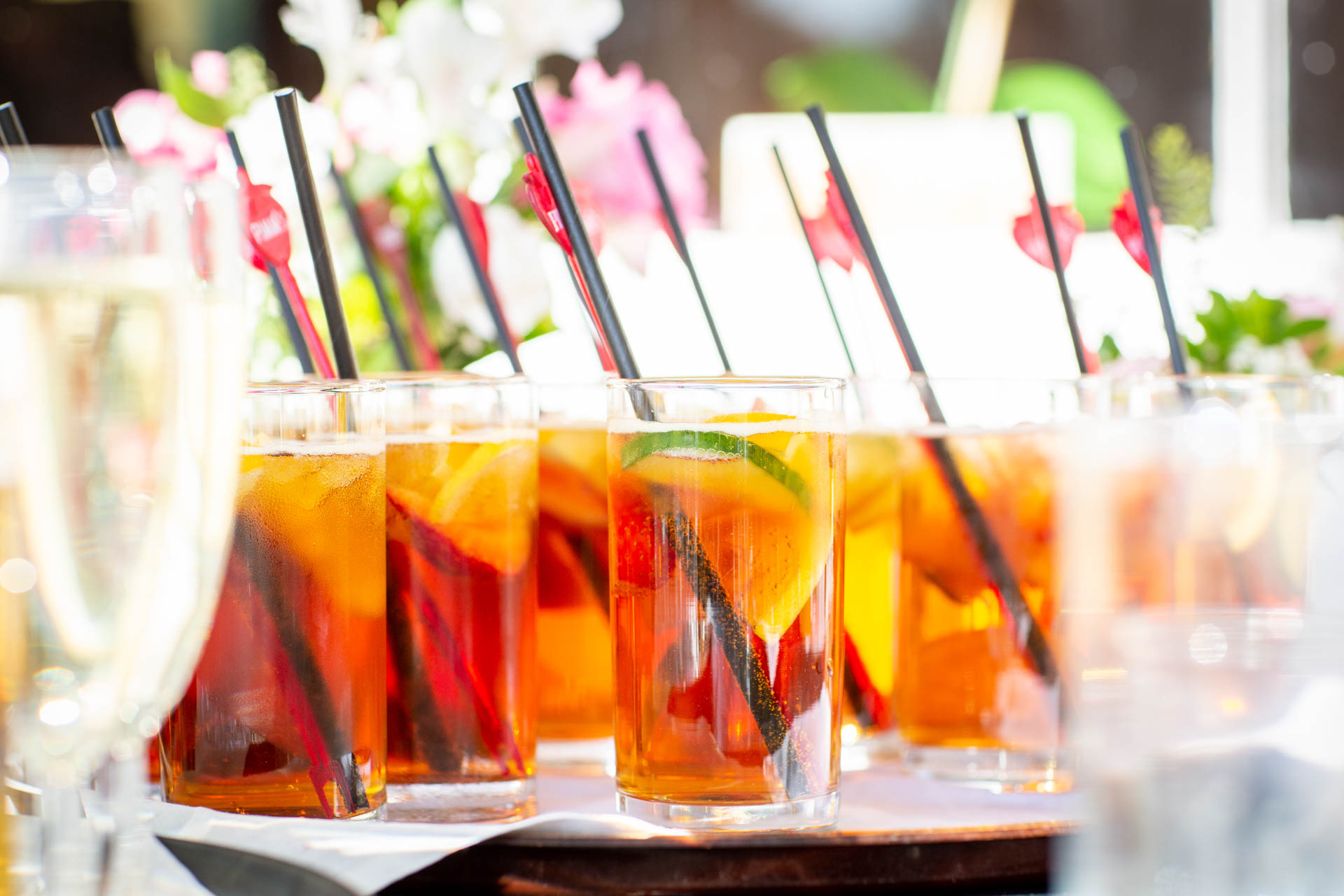 Wedding reception reportage photograph of Pimms drinks at The Lawn Rochford Essex
