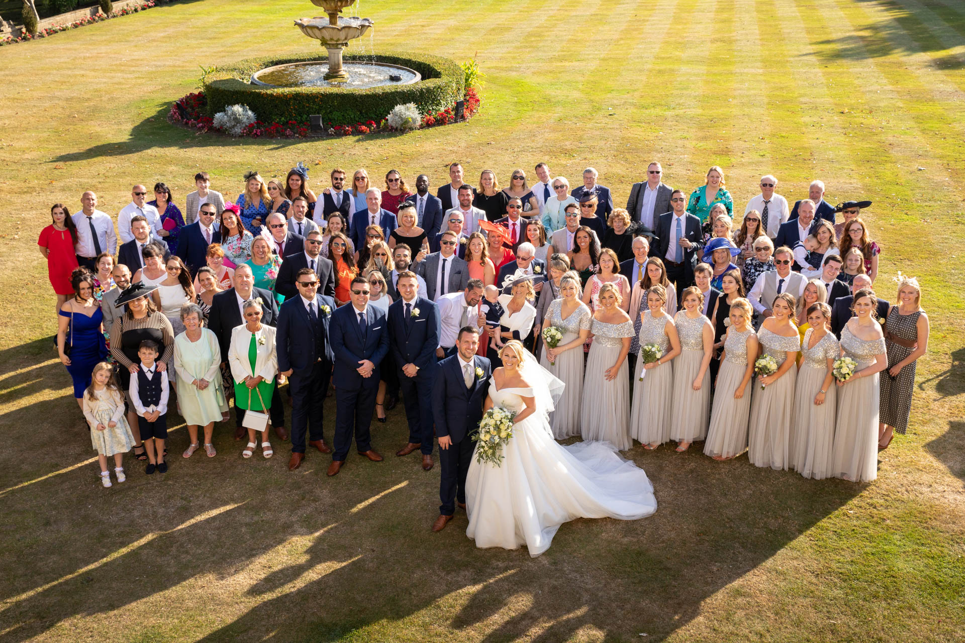 Wedding group photograph at The Lawn Rochford Essex